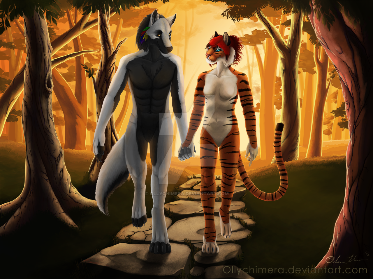 Commission - Wolfy and Teshy by OllyChimera