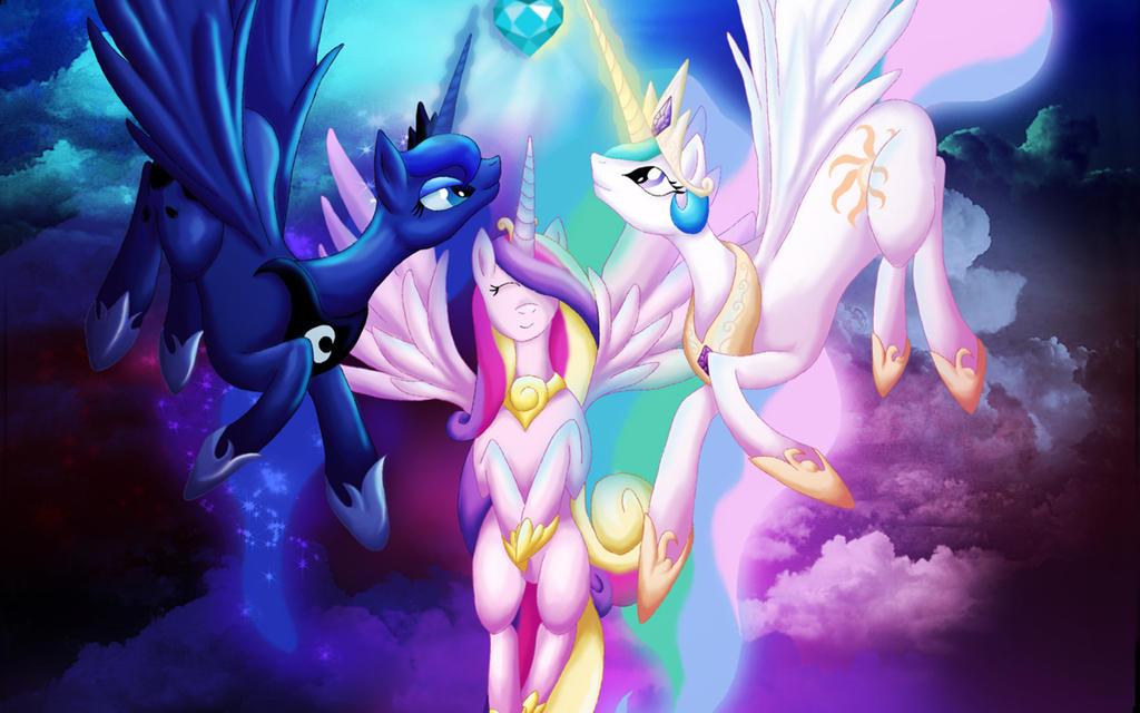 Princess Celestia, Princess Luna, Princess Cadence by Pokemonfanmusicfan