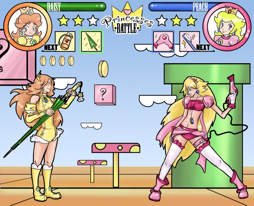 Imágenes//Viñetas//Cómics de risa Nintendo_princesses_battle_by_red3erry-d3btl4i