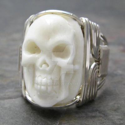 Carved Bone Oval Skull Ring By Kimsjewels On Deviantart