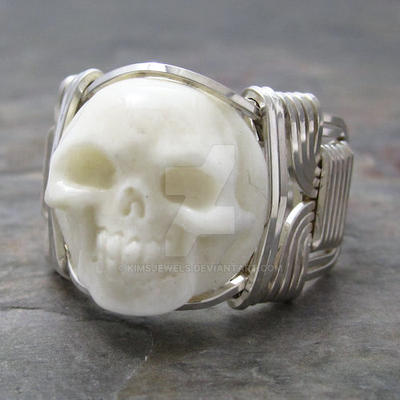 Carved Bone Round Skull Ring By Kimsjewels On Deviantart