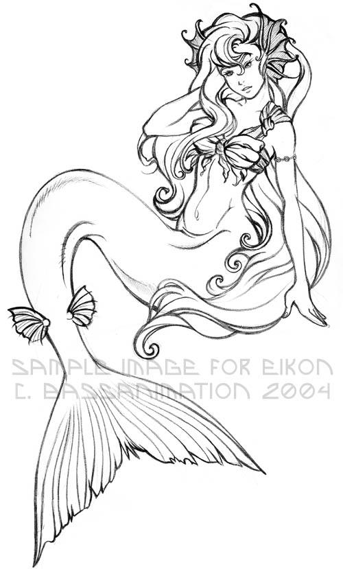 Mermaid Lineart By Bassanimation On DeviantArt