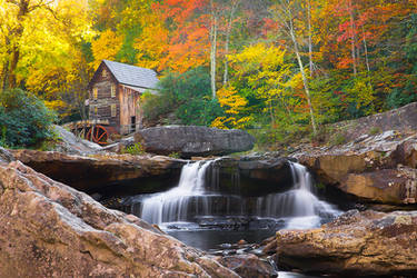 Babcock Grist Mill in Autumn by LAlight