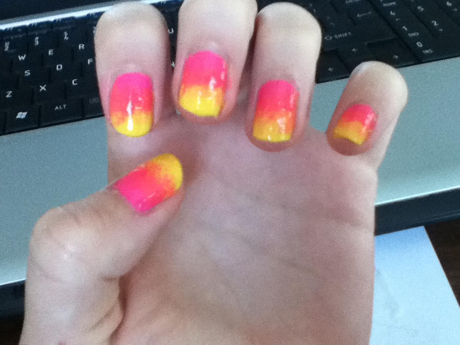 Pink And Yellow Ombre Nails By Leedymphy On Deviantart