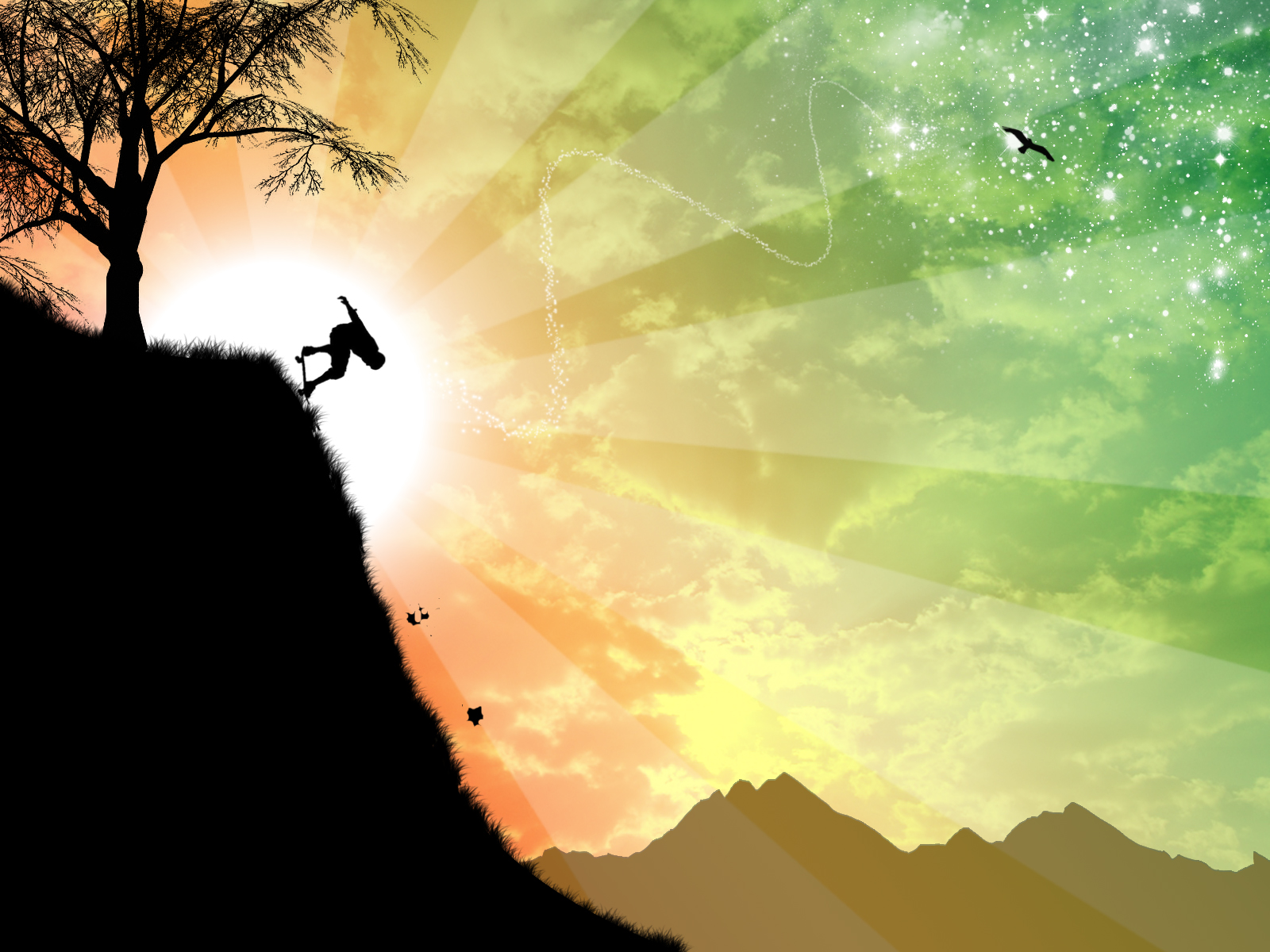 Mountain Skateboarder by kandiart