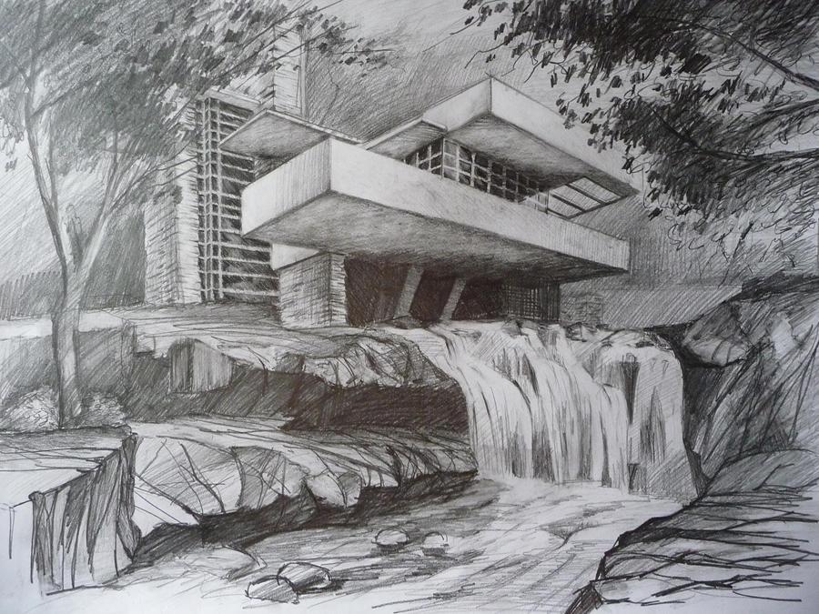 Line Drawing Waterfall : Fallingwater by bastkk on deviantart