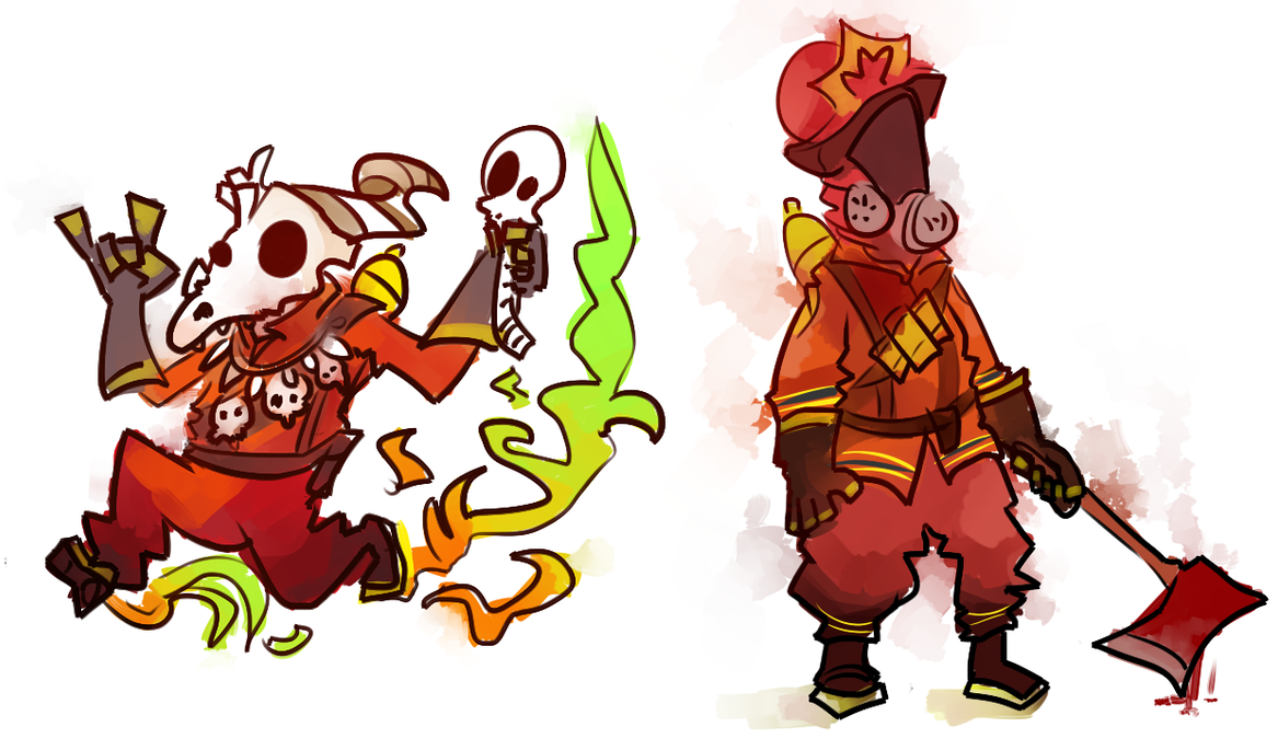 TWO DUMB PYROS (DOODLES) by Xanthocephalus