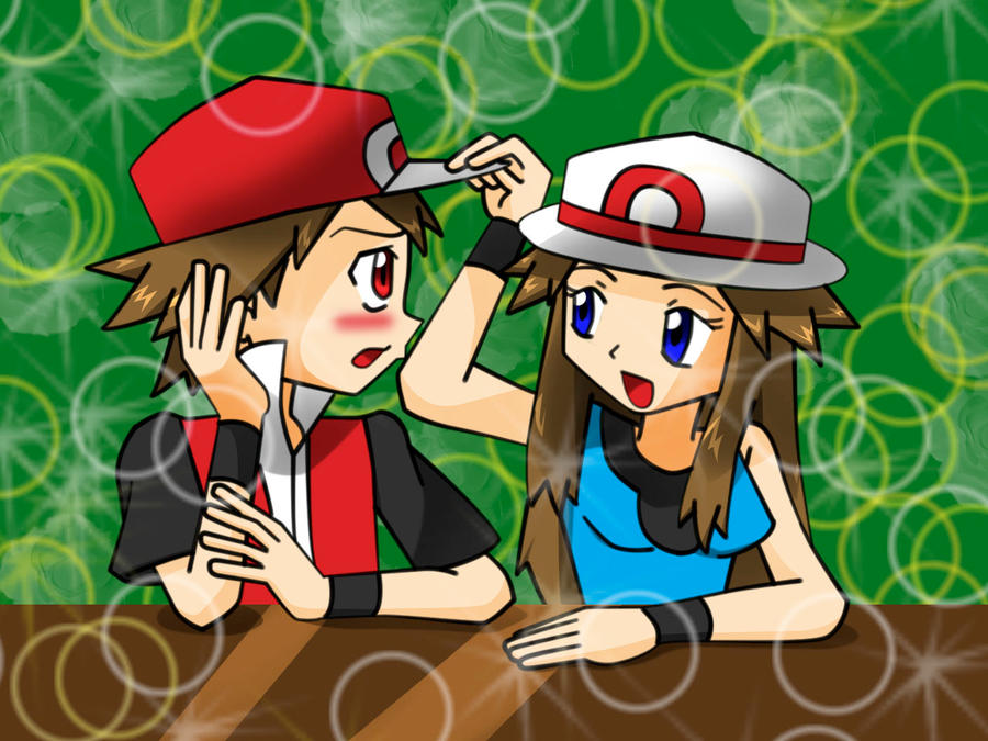 Pokemon trainers Red and Leaf by Magicwaterz16
