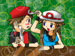 Pokemon trainers Red and Leaf