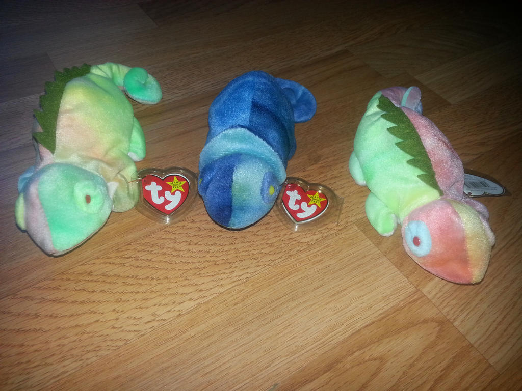 iguana and blue chameleon plush for sale by beaniebabies 4 sale