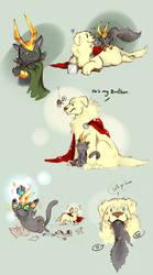 Dog Thor Cat Loki by LittleDarkDragon