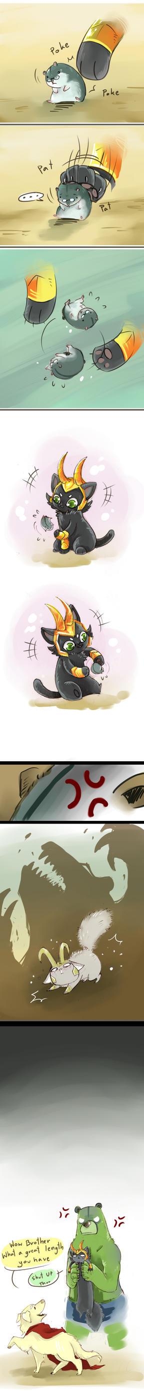 DogThor CatLoki: puny thing by LittleDarkDragon