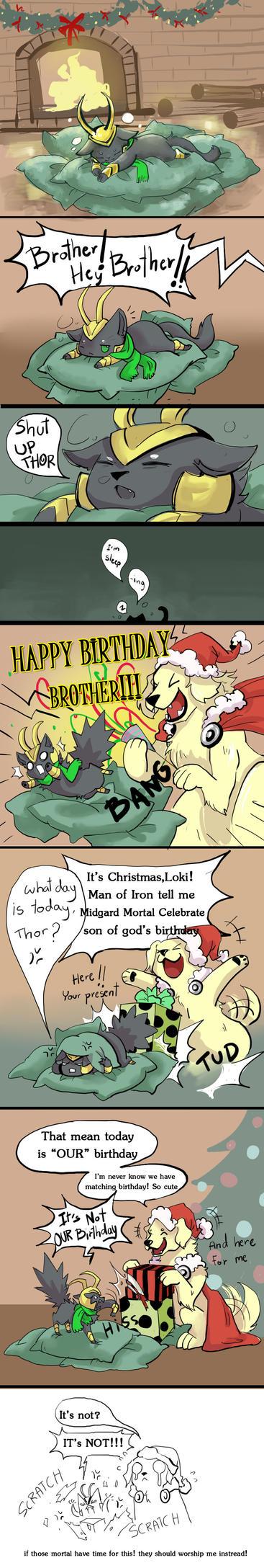 DogThor CatLoki...Merry X mas by LittleDarkDragon