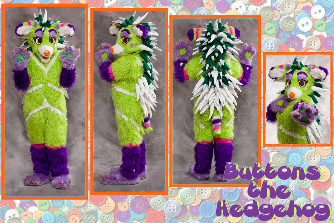 Buttons the Hedgehog fursuit by Niniku-Chan