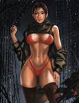 Lara in red (+versions). by TattiArt