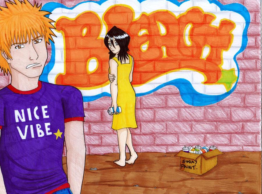 Bleach spray paintin by bastet1994 on deviantart for Bleach nice vibe shirt