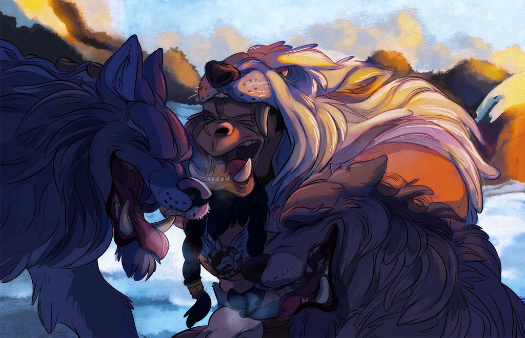 Durotan and his pack by Konnestra