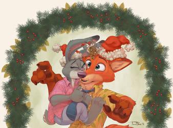Nick and Judy Christmas by teaselbone