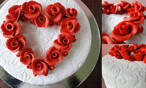 Commission: Heart of Roses Wedding Cake