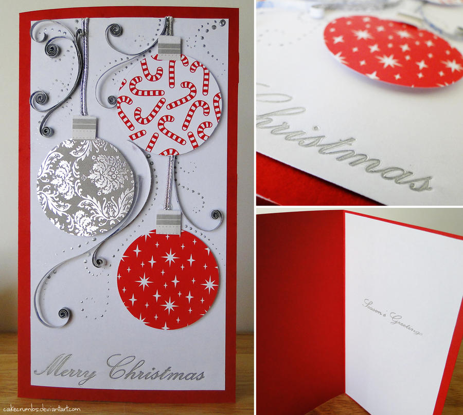 Making Christmas Cards Ideas Part - 27: Handmade Christmas Card [Baubles] By Cakecrumbs ...
