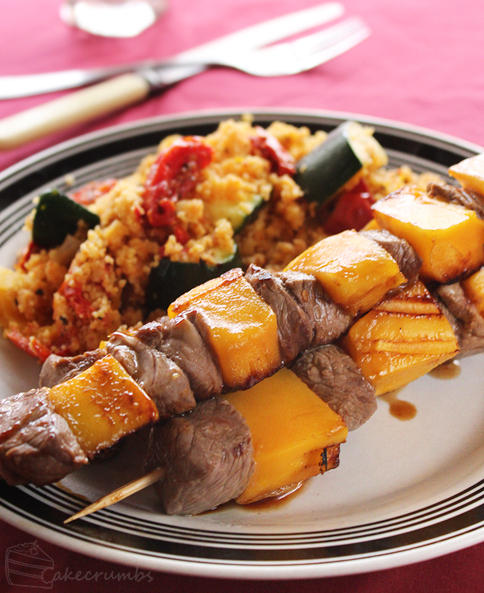 Lamb and Mango Skewers by cakecrumbs