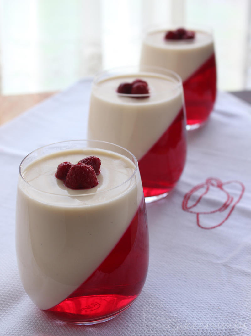Panna Cotta w/ raspberry jelly by cakecrumbs on DeviantArt