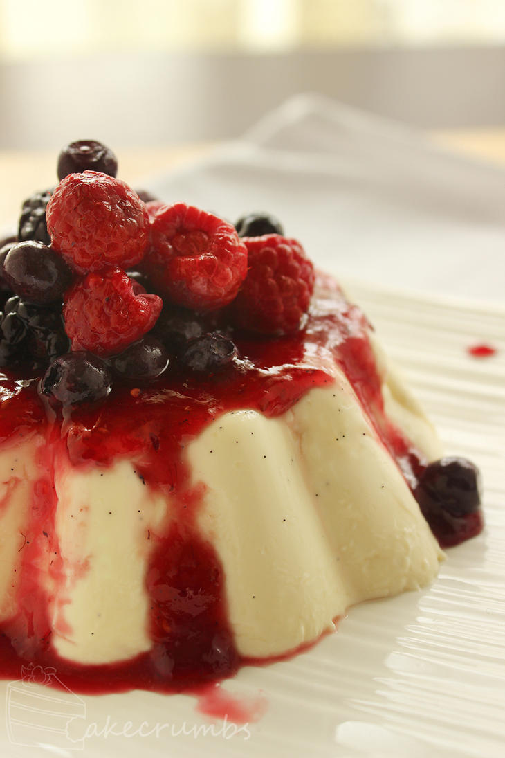 Panna Cotta w/ jam and berries by cakecrumbs