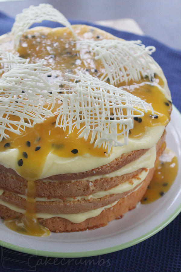 Lemon and Passionfruit Sponge by cakecrumbs