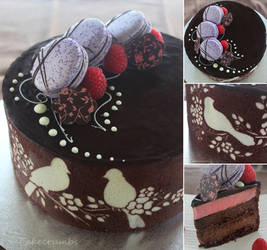 Joconde with Chocolate and Raspberry Entremet