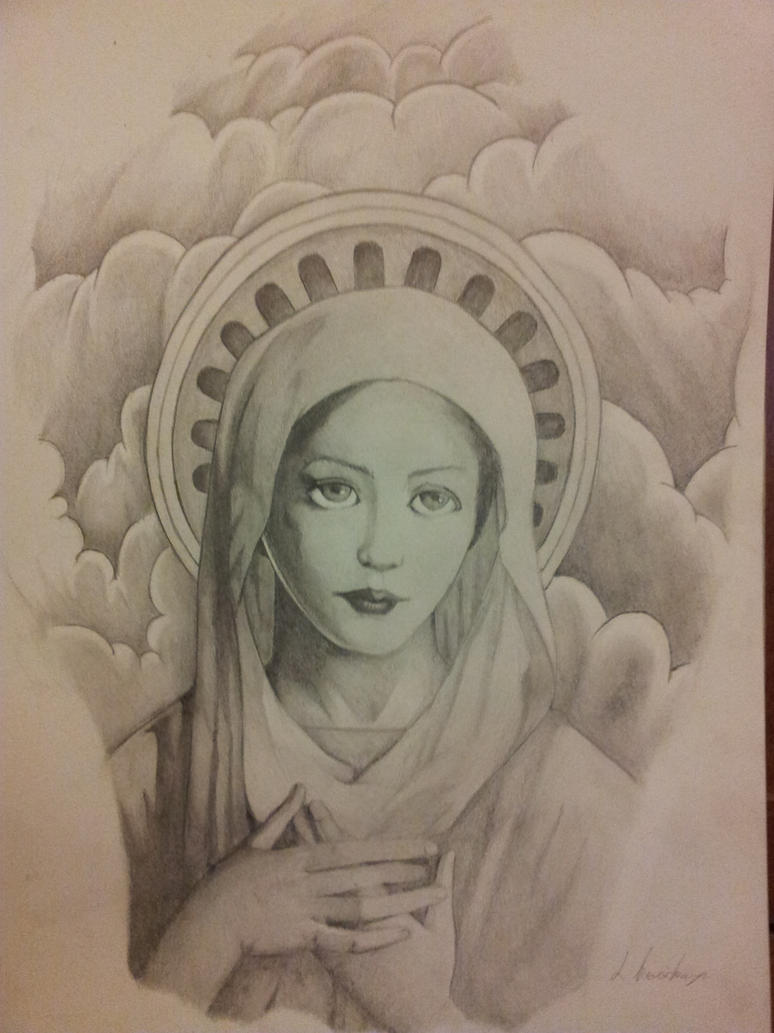 Line Drawing Virgin Mary : Virgin mary by kaz zan on deviantart