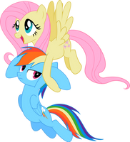 Vector: Fluttershy carrying Rainbowdash