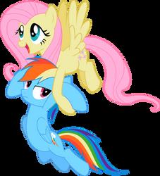 Vector: Fluttershy carrying Rainbowdash