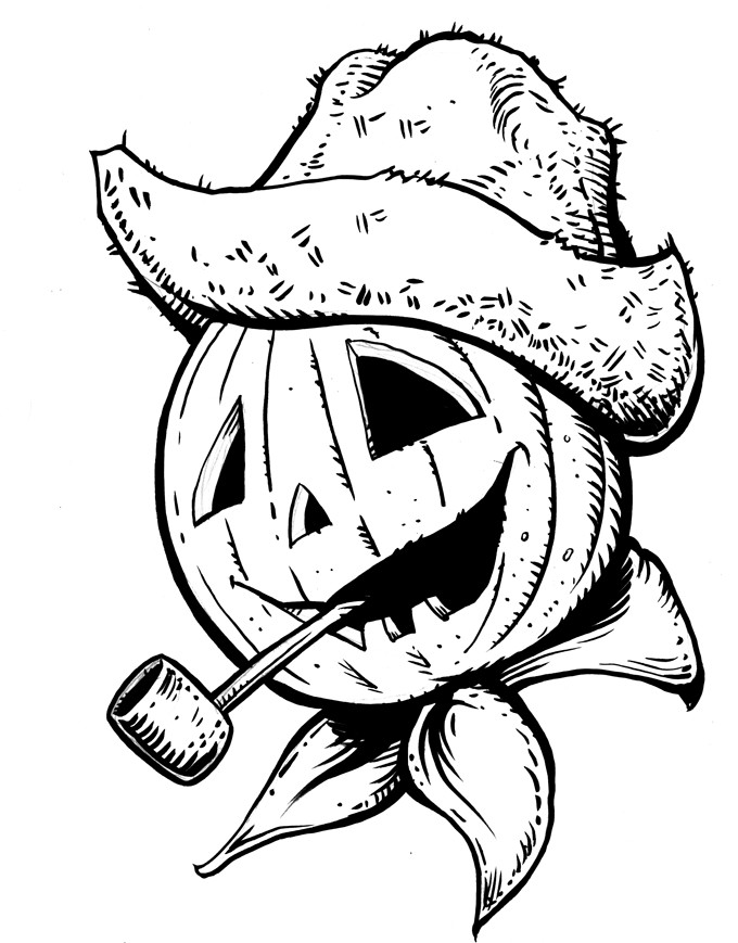 Pumpkin Head Coloring Page By MJBivouac