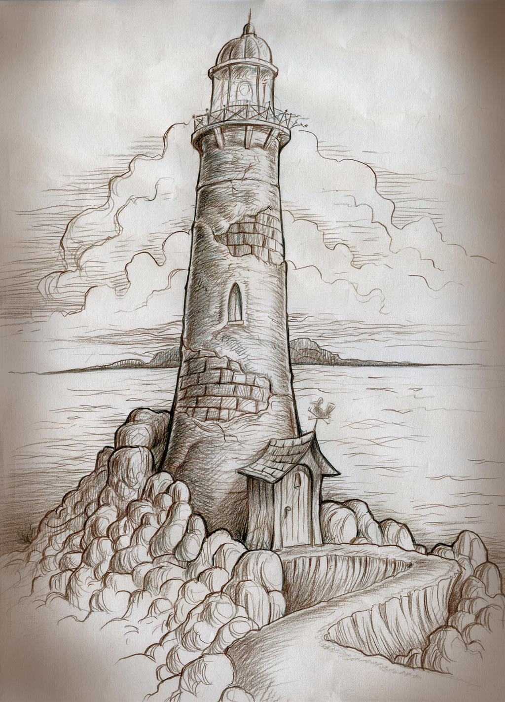 Lighthouse path by mjbivouac on deviantart for Art drawing ideas for adults