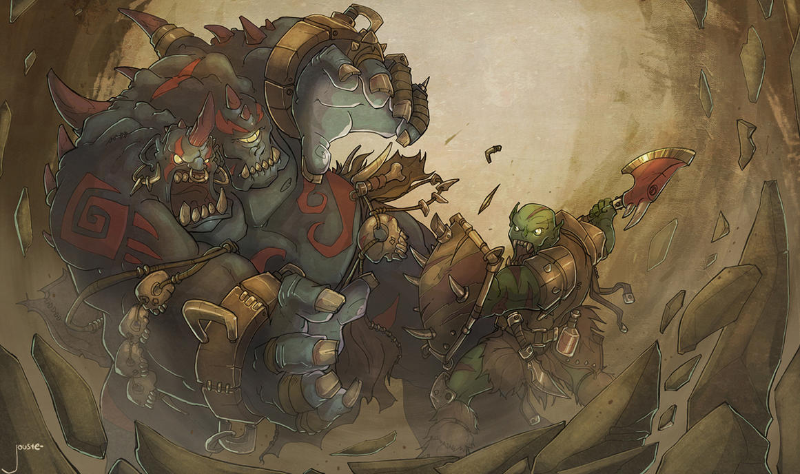 ogre magi vs. orc warrior by jouste