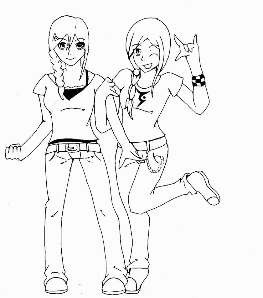 coloring book pages sisters | Twin sisters by darkgracedragon on DeviantArt