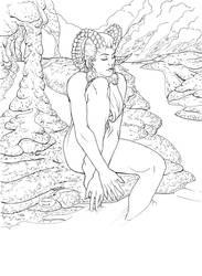 Goddess of Fire -lineart