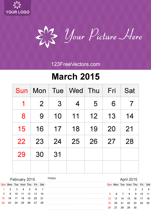 March 2015 Calendar Template Vector Free by 123freevectors on DeviantArt