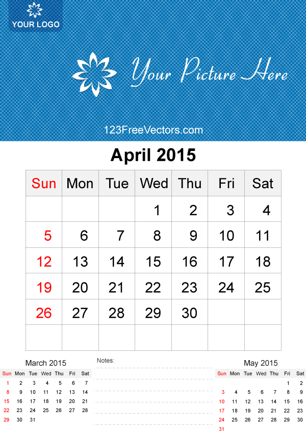 Calendar April Vector : April calendar template vector free by freevectors