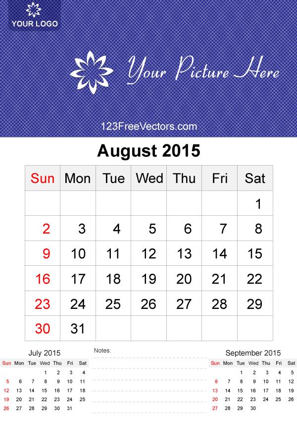 free calendar templates august 2015