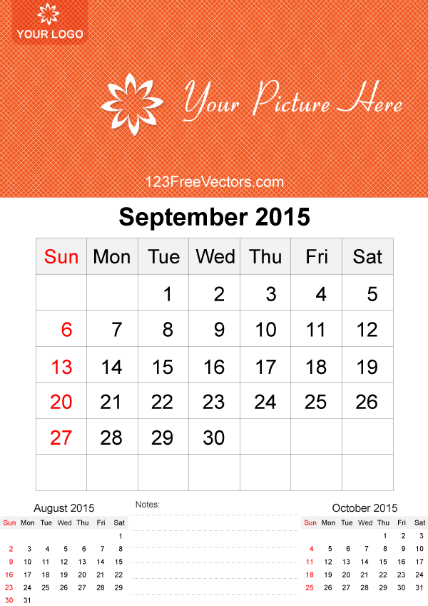 September 2015 Calendar Template Vector Free By 123freevectors On