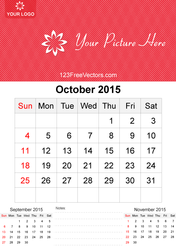 October 2015 Calendar Template Vector Free by ...