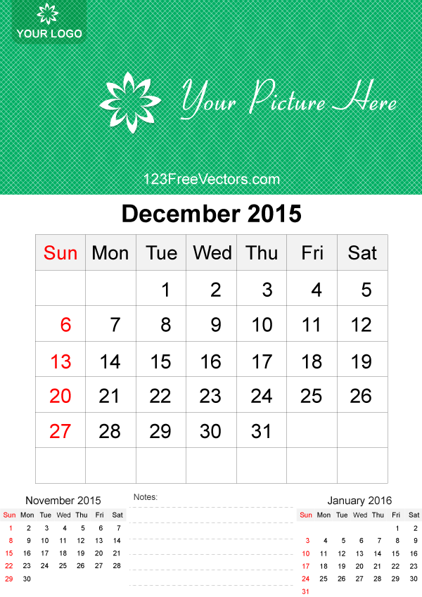 December 2015 Calendar Template Vector Free By 123freevectors On