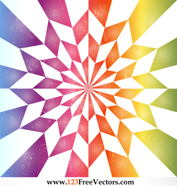 Star Optical Illusion Rainbow Background Vector by 123freevectors
