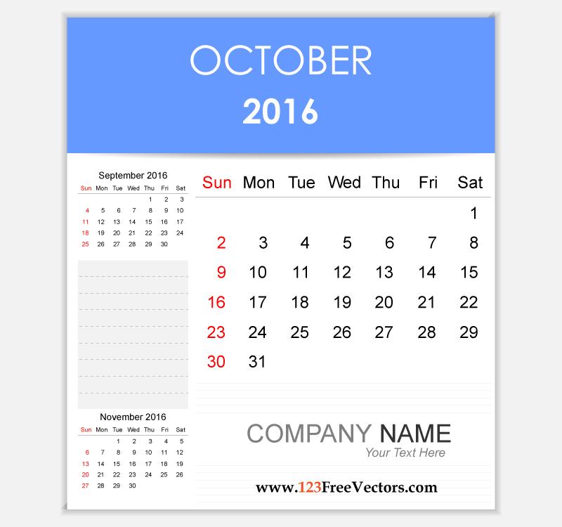 Editable Calendar October 2016 by 123freevectors on DeviantArt
