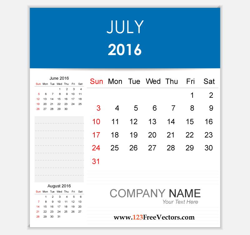 Editable Calendar July 2016 by 123freevectors on DeviantArt