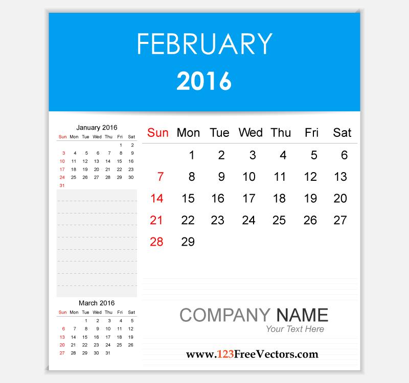 Editable Calendar February 2016 by 123freevectors on DeviantArt