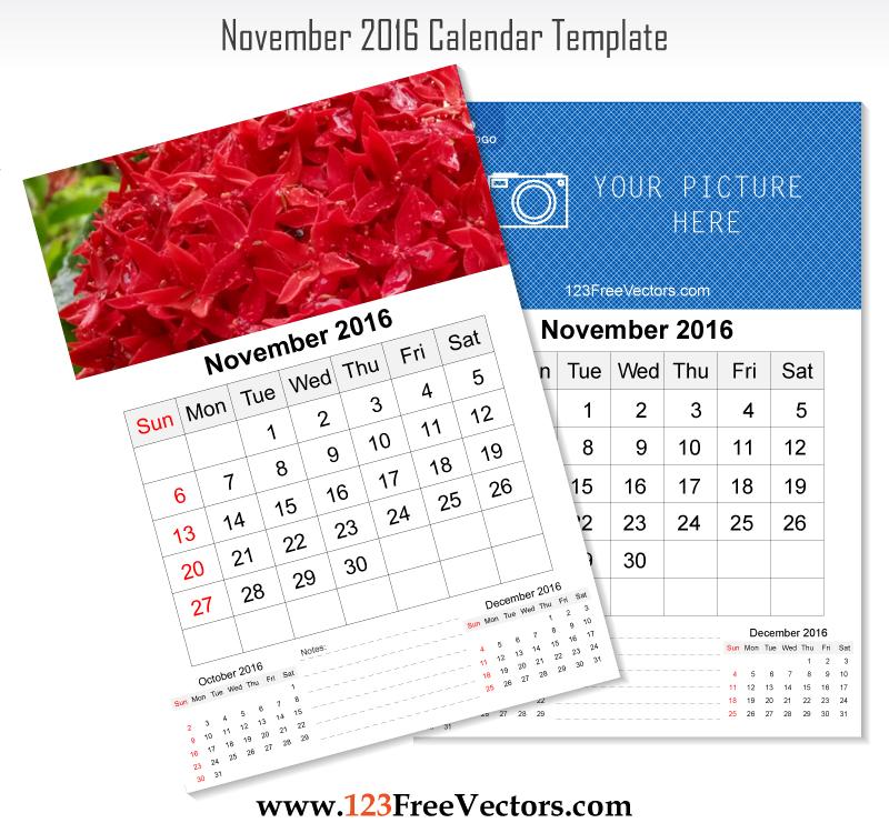 Wall Calendar November 2016 by 123freevectors on DeviantArt