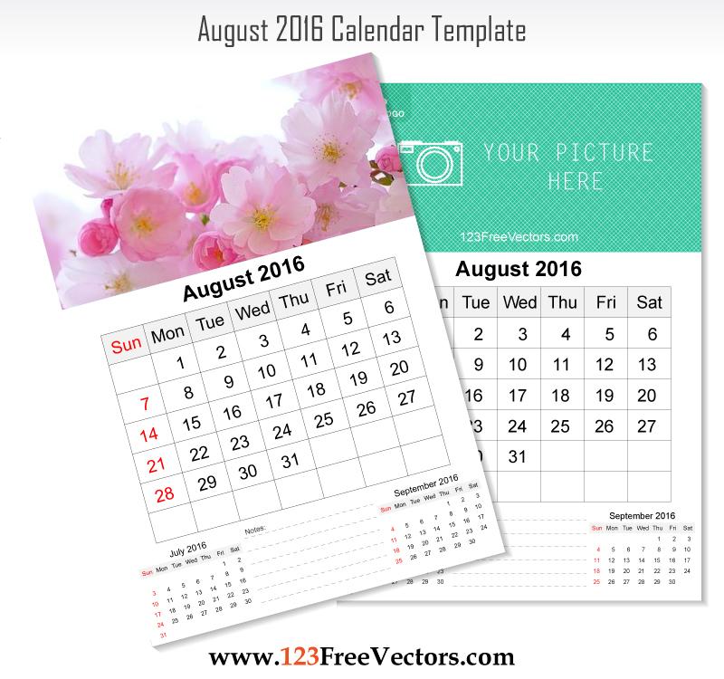 Wall Calendar August 2016 by 123freevectors on DeviantArt