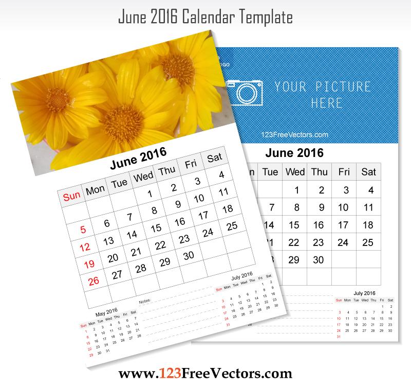 Wall Calendar June 2016 by 123freevectors on DeviantArt